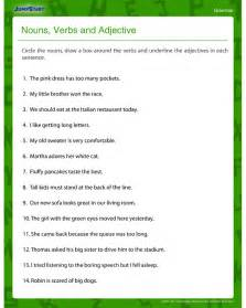 nouns verbs and adjectives free grammar worksheet for