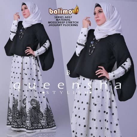 Dress Flocking Bahan Jaguard queensha 2 b baju muslim gamis modern