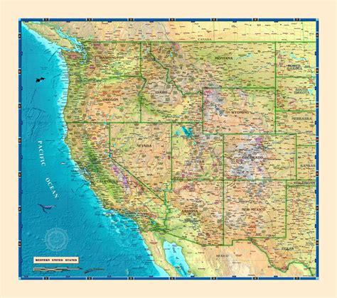 western usa map western usa wall map usa and us states wall maps