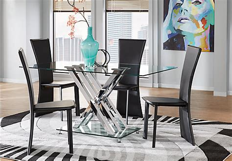 5 pc dining room set cardi s furniture empire place metal 5 pc rectangle dining set with glass