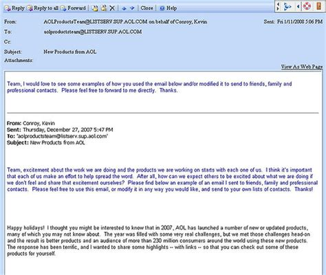 email corporate aol email screenshot of email sent by aol product chief