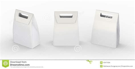 white paper bag folded package with handle clipping path
