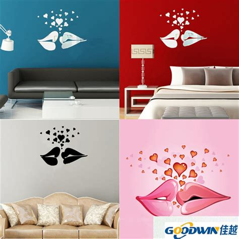 Bedroom Lip Images Hearts Pattern Mirror Wall Stickers