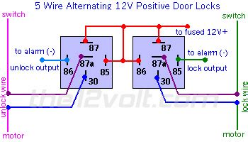 how to wire relays door locks 5 wire alternating 12