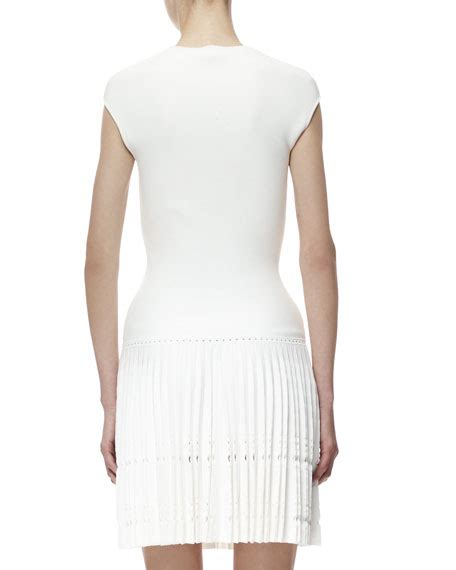 Cutout Sleeve Knit Dress mcqueen cap sleeve knit cutout plisse dress white