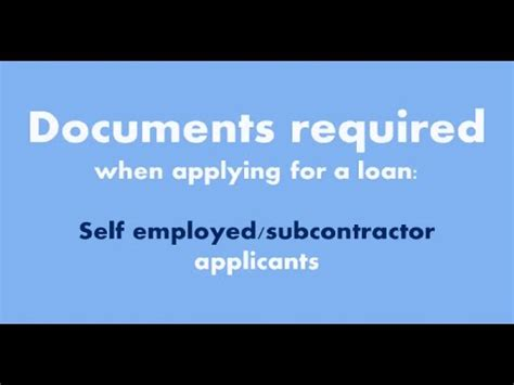 self employed documents required when applying for a home