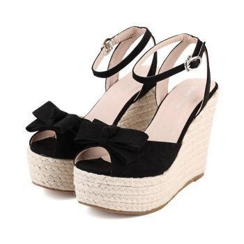 Wedges Pin Merak 4 5cm ankle bow knot design wedge sandals in 3 colors on