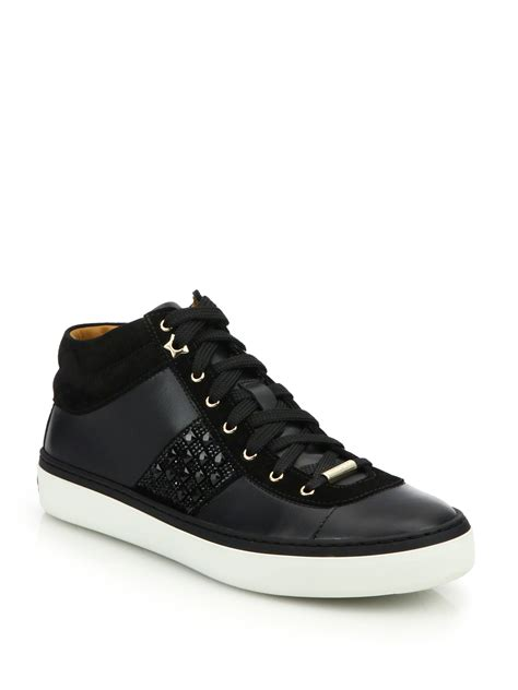 jimmy choo sneakers jimmy choo bells gem studded leather sneakers in black lyst