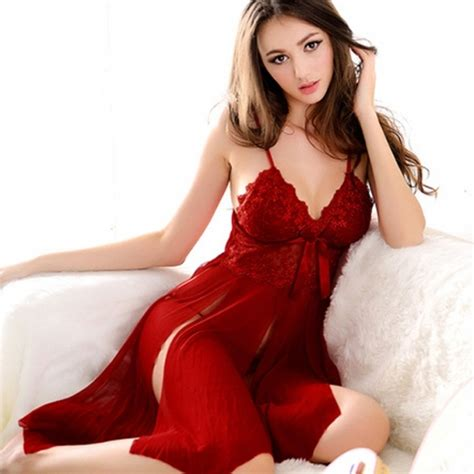 2015  Lingerie Nightwear Red Lace Ladies Cleavage Sleepwear Baby Doll