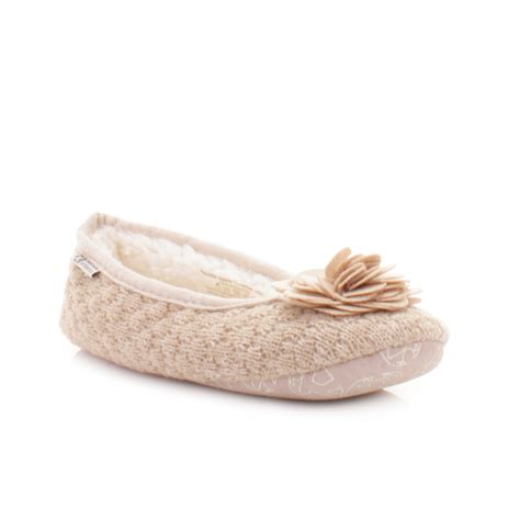 Bedroom Slippers | womens bedroom athletics charlize natural fleece knit
