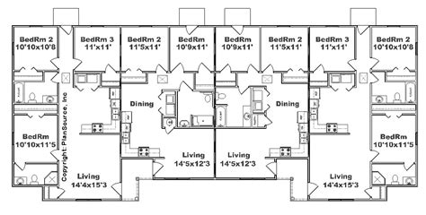 Fourplex Floor Plans | fourplex plan j2878 4 plansource inc