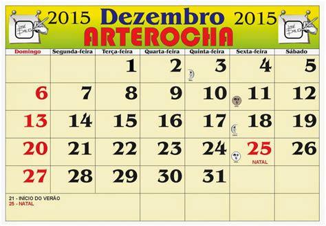 Calendario Dezembro 2015 Arterocha Calend 193 Mes De Dezembro 2015