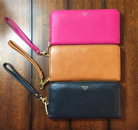 Fossil Sydney Zip Camel details about fossil sydney leather zip clutch wristlet wallet camel fuchsia heritage blue