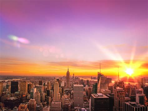 new york city skyline sunset the nyc skyline at sunset ove flickr