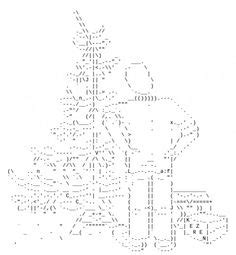 christmas tree text symbol snowflakes in ascii text