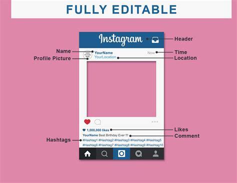 Instagram Frame Prop Template Allcanwear Org Editable Instagram Template