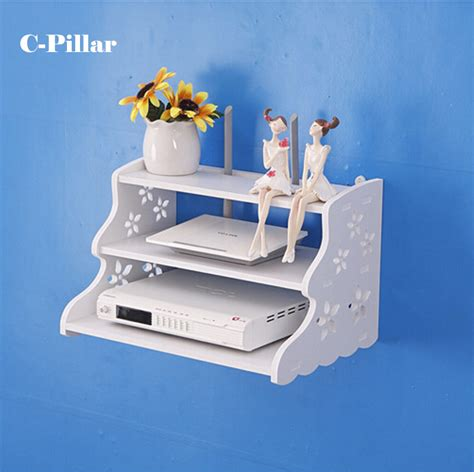 Router Shelf by Three Layer Router Set Top Boxes Tv Background Wall Decoration Pastoral Racks Free Punch Wall