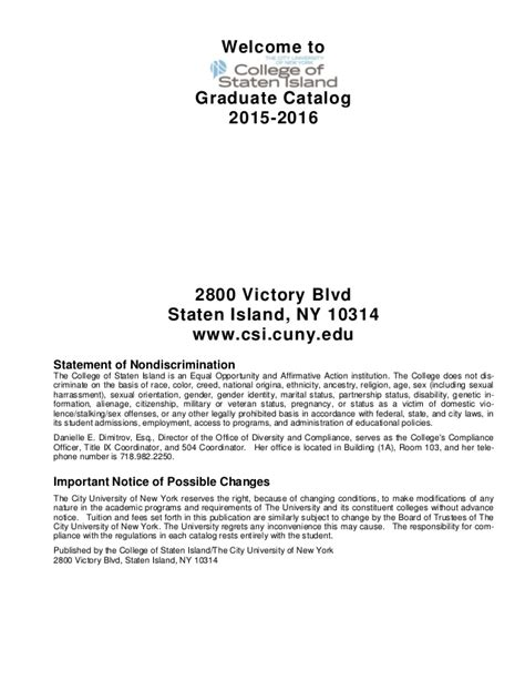 College Of Staten Island Letter Of Recommendation college of staten island graduate catalog2015 2016