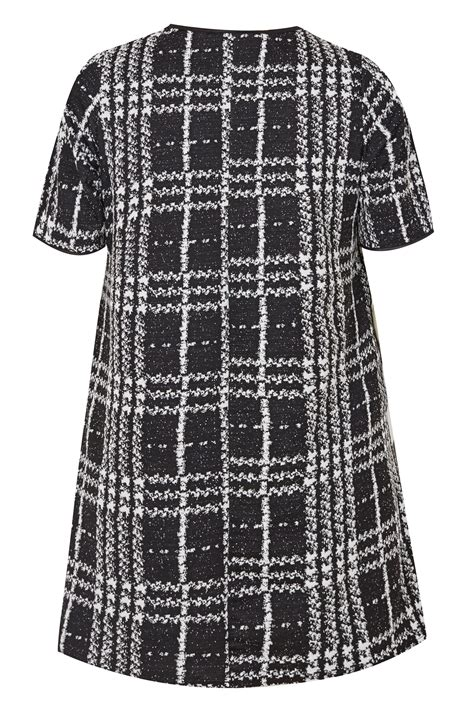 Text Decoration Italic by Black Jacquard Check Tunic Dress Plus Size 16 To 40