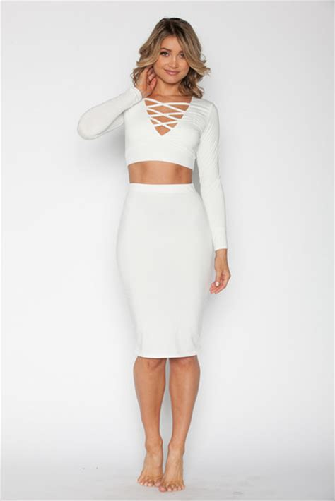 dress luxe white white set crop tops skirt