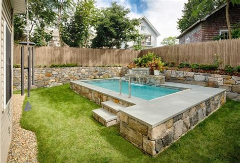 Stone Swimming Pool Designs For Small Yards With House Plans For Small Yards
