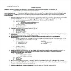 Business Emergency Plan Template by Sle Emergency Response Plan Template 9 Free