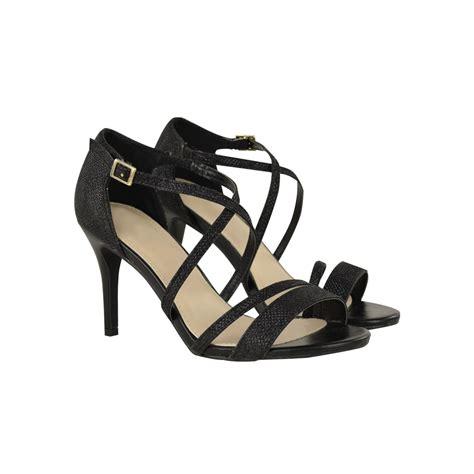black high heel ankle sandals black metallic mid high heel stilettos shimmer ankle