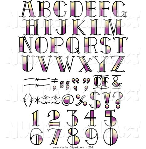 tattoo number fonts royalty free vector clip of a digital set of black and