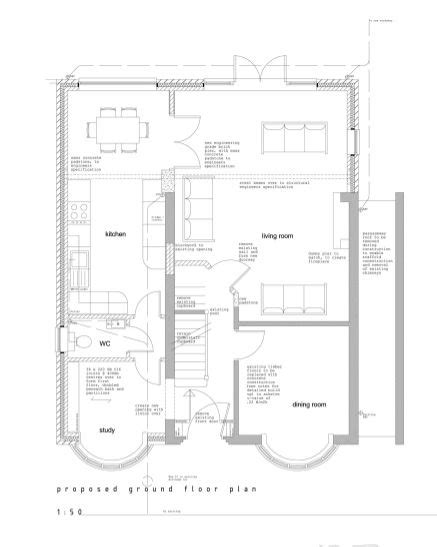 kitchen extension floor plans side and loft extension to 1930 s home quinton empty