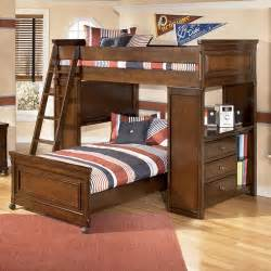 bunk beds bedroom set portsquire loft bed with chest desk from signature