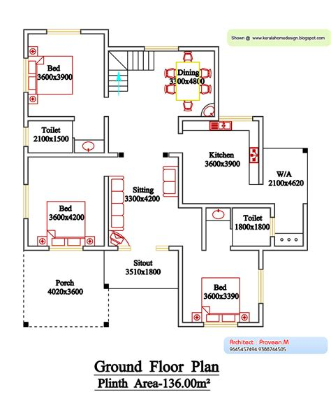 kerala home floor plans kerala style floor plan and elevation 6 kerala home