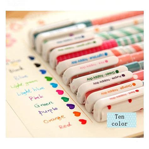 diy stationery 30 10 pack korean floral print pattern assorted colorful point gel marker pen