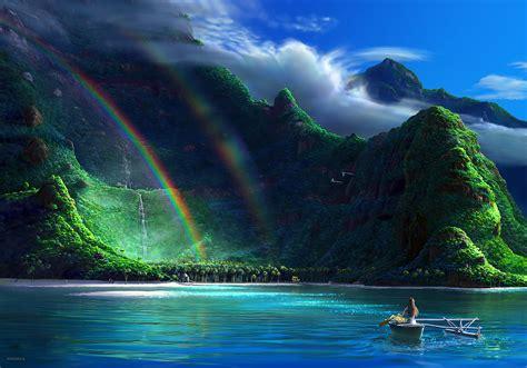rainbows water mountain wallpapers hd desktop