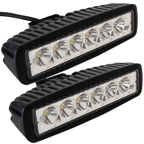 2pcs 6 Quot Inch 18w Led Work Light Bar L For Driving Truck Led Light Bar For Motorcycle