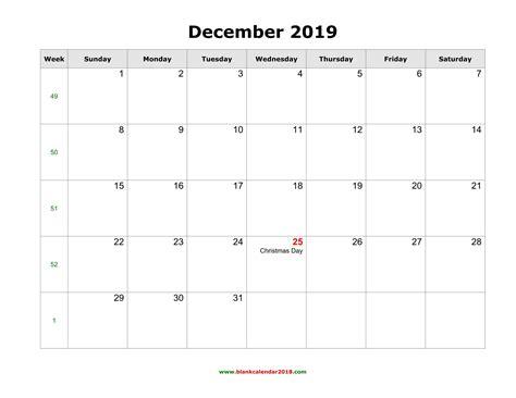 blank holidays calendar december  landscape