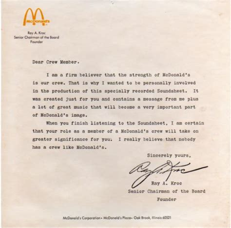 Record Of Employment Letter K Mcdonald S Employee Letter