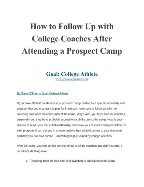 how to follow up with college coaches after attending a prospect c