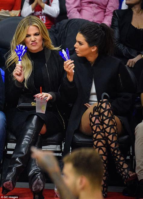 kim kardashian makeup and dress up games kendall jenner and khloe kardashian heckled at la clippers