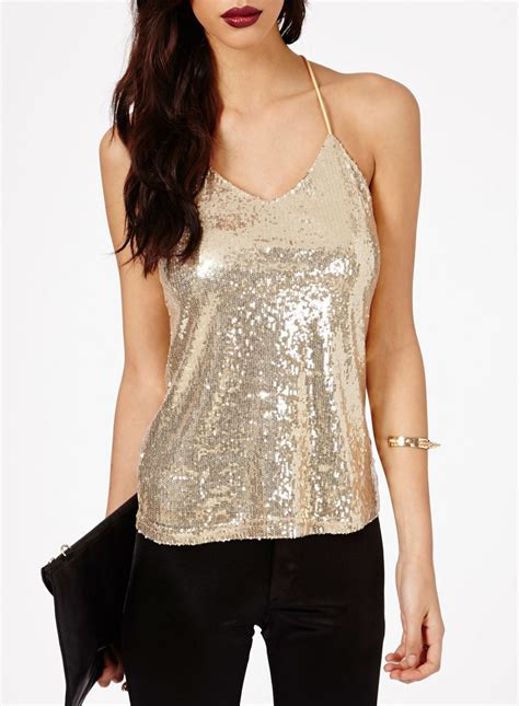 Tops Club by Shop Schwof Sleeveless Shimmer Strappy Top
