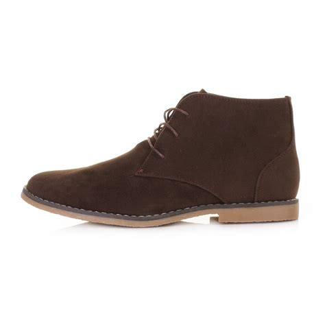 mens brown suede style lace up desert ankle boots shoes