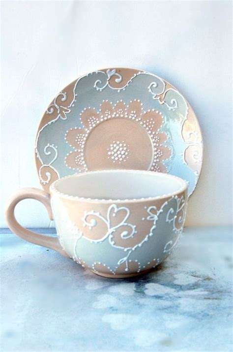 Cup And Saucer Shabby large tea cup and saucer painted in shabby chic style
