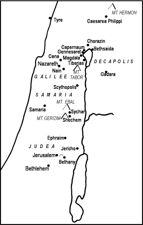Wedding At Cana Sermon Outline by General Location Of Cities And Land Marks In Israel