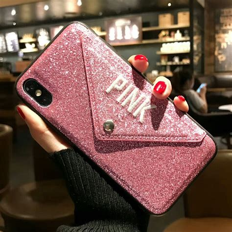 luxury pink brand  glitter embroidery leather fashion hot cute pink case  iphone