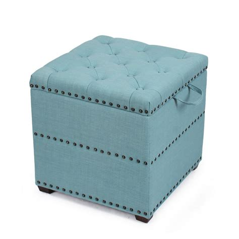 Adeco Blue Square Ottoman With Tray Storage Ft0048 1 Square Ottoman With Storage And Tray
