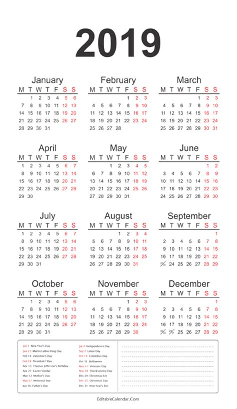 Calendar 2019 India With Holidays Printable Jan 2016 Calendar With Holidays Calendar
