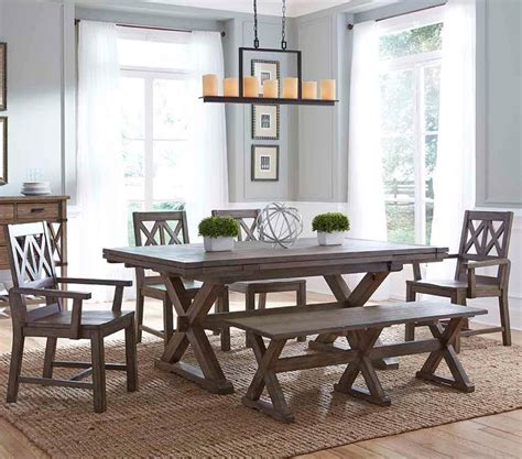 rustic dining room table set with bench furniture foundry six rustic dining set with