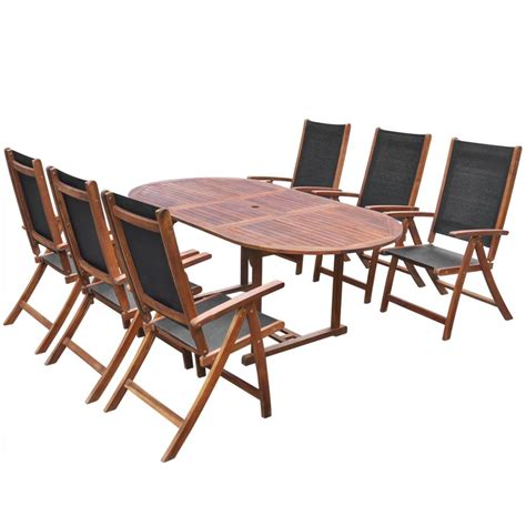 Oval Extending Dining Table And Chairs Oval Extending Dining Table And 6 Folding Chairs Patio Garden Furniture Set Ebay