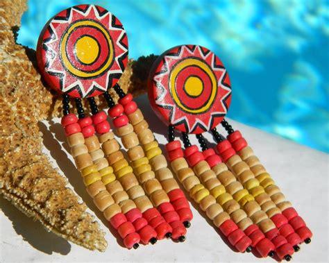 sun bead vintage wood earrings dangle sun yellow