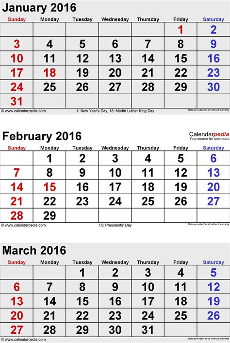 Calendã M March 2016 Calendars For Word Excel Pdf