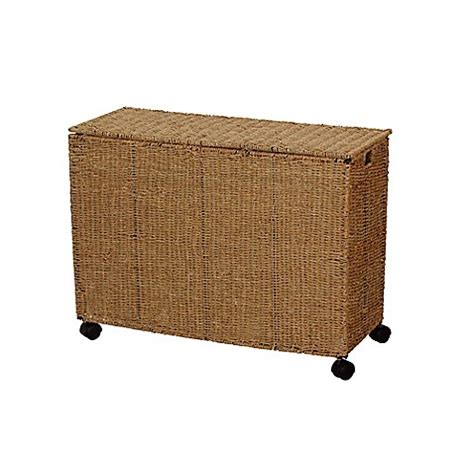 Household Essentials Seagrass Triple Laundry Sorter W 3 Household Essentials Laundry